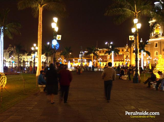 Lima at Night During Christmas